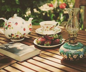 tea, book, and strawberry image
