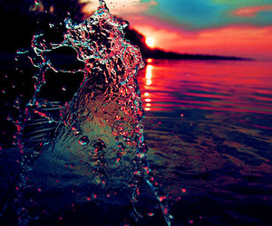 water, sunset, and sea image