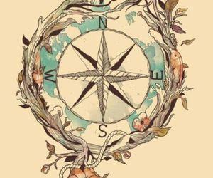 compass, bird, and tattoo image