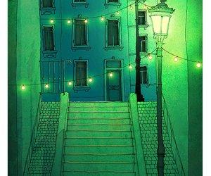 green, night, and art image