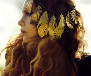feather, hair, and gold image