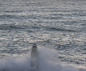 lighthouse, sea, and wave image