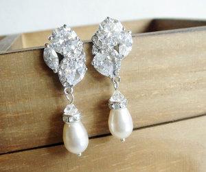 art deco, wedding jewelry, and pearl earrings image