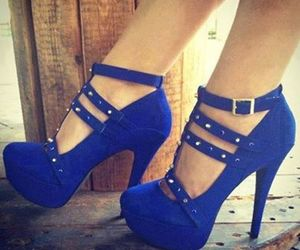 blue, blue heels, and shoes image