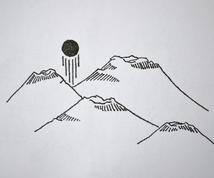drawing, art, and mountains image