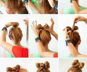 bow, hairstyles, and bun image