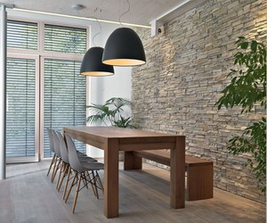 architecture., modern kitchen design, and stone brick wall image