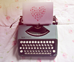 love, heart, and typewriter image