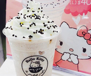 cream, drink, and hello kitty image