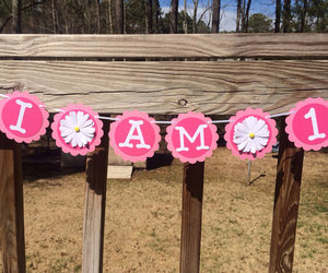 high chair banner, girl first birthday, and i am 1 birthday banner image
