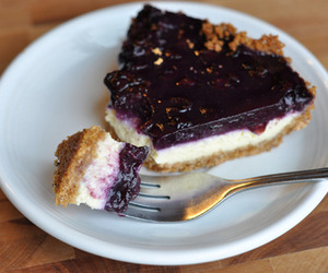 food, blueberry, and cheesecake image