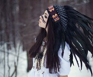 girl, snow, and indian image