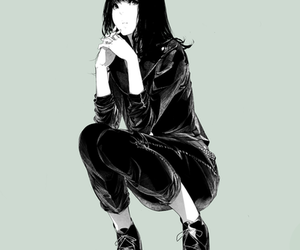 anime girl, black and white, and monochrome image
