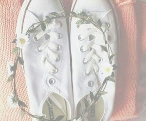 flowers, converse, and sweater image