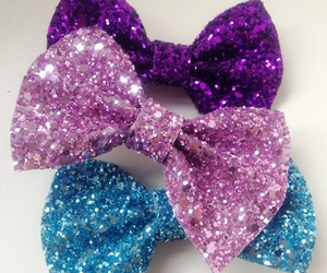glitter, bow, and blue image