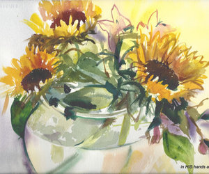 fine art painting, sunflowers painting, and flowers wall art image