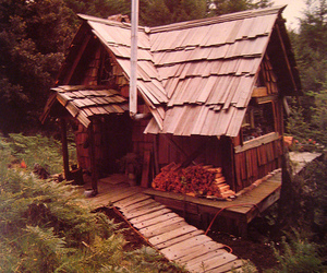 cabin, forest, and wood image