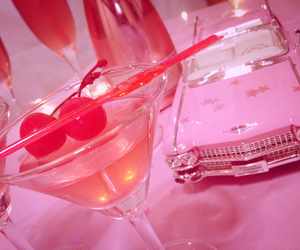 martini, retro, and pink girly cherry image