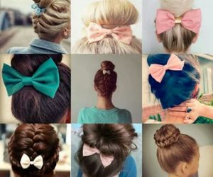 hair, bow, and girl image