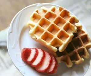breakfast, dessert, and waffles image