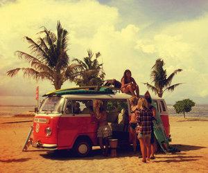 beach, bus, and girls image