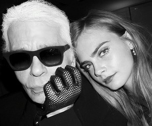 cara delevingne, karl lagerfeld, and black and white image