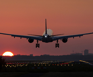 airplane, lights, and place image