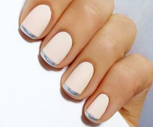 manicure, pink and silver, and nail art image