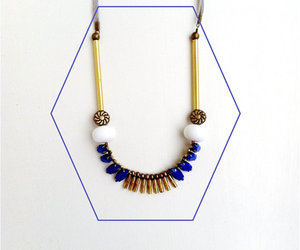 neon necklace, neon statement necklace, and brass bar necklace image