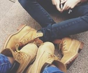 couple, timberland, and shoes image