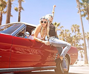 summer, car, and girl image