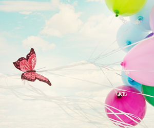 butterfly, balloons, and sky image