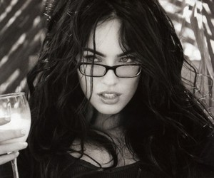 megan fox, black and white, and glasses image