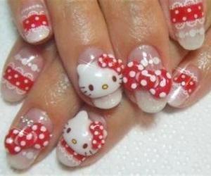 pink nails, kitty nails, and hello kitty nail art image