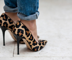 black, hair, and leopard image