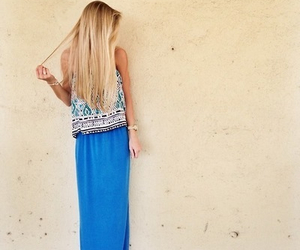 outfit, maxi, and style image