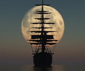 moon, ship, and sea image