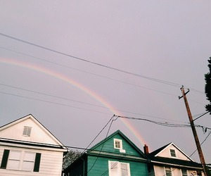rainbow, house, and sky image