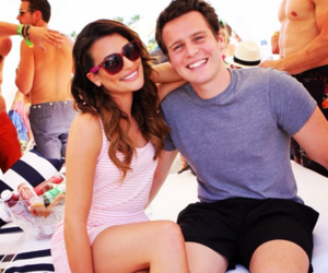 lea michele, jonathan groff, and glee image