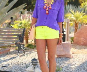 fashion, neon necklace, and neon heels image
