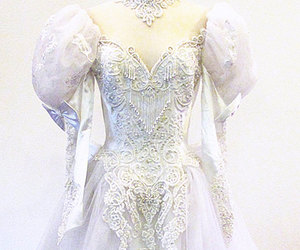 bridal, puffy sleeves, and wedding gown image