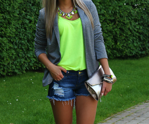fashion, girl, and neon image