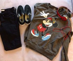 outfit, mickey mouse, and sweater image