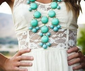 dress, lace, and teal image
