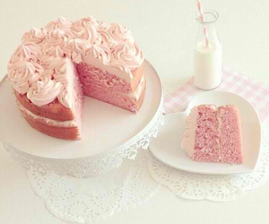 cake, milk, and pink image