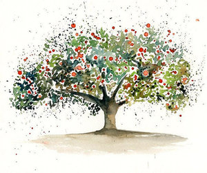 acuarela, tree, and watercolor image