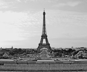 b&w, black and white, and eiffel image