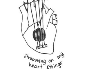 draw, guitar, and heart image