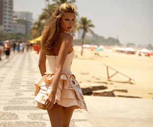 beach, dress, and girl image