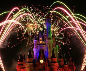 castle, disney, and fireworks image